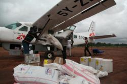 MSF unload an MSF plane full of medical supplies for the Yida refugee camp in South Sudan.Copyright: Eddy McCall