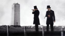 Abraham Lincoln test fires Springfield rifles with his bodyguard in the new Abraham Lincoln Movie - Saving Lincoln.