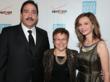 Calista Flockhart with POV's Executive Director Patti Giggans and Luis Cruz, Southern California Region President of Verizon Wireless