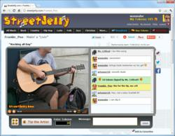 Musicians live on webcam.
