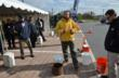 ICPI, EP Henry demonstrate an ASTM 1701 surface infiltration test, demonstrating the speed that water infiltrates the surface of permeable interlocking concrete pavement systems.