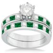 Channel Emerald & Diamond Bridal Set 14k White Gold