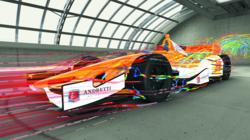 Andretti Autosport IndyCar with Streamribbons Demonstrating Simulated Aerodynamic Flow Using Exa PowerFLOW