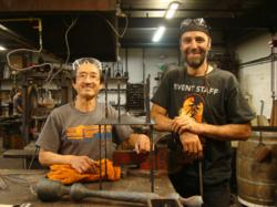 Hiroki Fukushima and Blacksmithing Instructor Chris Niemer