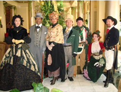 Historic characters roam the streets of New Orleans during the winter holidays.