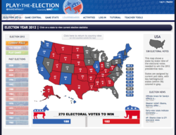 The home page for the Play the Election (playtheelection.com) website.