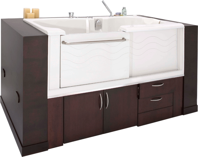 a unique handicap shower and hydrotherapy step in bathtub company announces self standing walk. Black Bedroom Furniture Sets. Home Design Ideas
