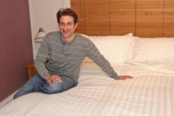 Inventor Grahame Cohen with the Couple Snuggle Duvet Cover