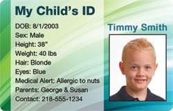 Carry your child's personal information at all times on a child ID card