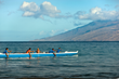 Four Seasons Resort Maui guests learn the history and the how-to of this Hawaiian paddling sport while keeping eyes and cameras peeled for whale sightings and point out the abundance of sea life.