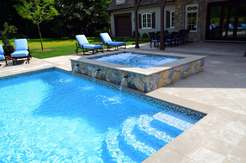 Far hills nj inground swimming pool awarded for design for Swimming pool spa designs