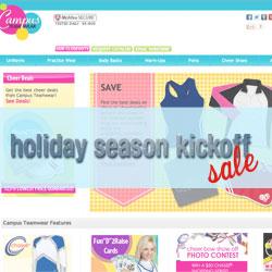Campus Teamwear website, cheerleadingonline.com, offers holiday sales.