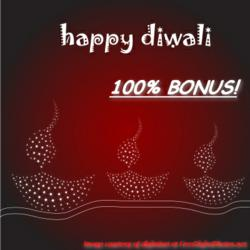 A Dewali greeting that states 100% in regards to a FX-CFD bonus by CaesarTrade