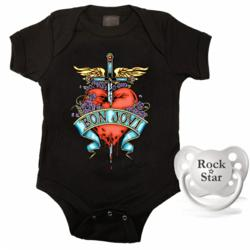 Bon Jovi baby bodysuit and rock star pacifier