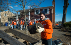 Samaritan's Purse volunteer helping with Hurricane Sandy relief efforts.
