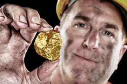Image of a gold miner; indicating that qualified sales leads are like gold to an RV dealership.