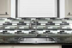 Kitchen Backsplash featuring the Glass Tile Modern Brick