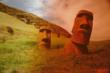 Photographic art piece of Easter Island, Chile by visionary artist/author Judith Diana Winston.  This location is featured in the story of her new novel, THE KEEPER OF THE DIARY.  The entire photo art