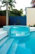 Acrylic can be fully customized for your pool or spa needs, such as using it as a divider between the spa and pool.