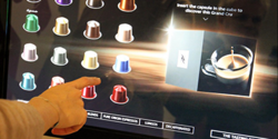 IntuiFace Commerce-driven Nespresso kiosk for browsing and ordering