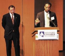 Anthony Pryor accepts the 2012 Eco-Friendly Business Award on behalf of Marstel-Day