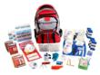 Emergency supplies in the Deluxe Survival Kit are packed securely in a multi-pocket backpack.