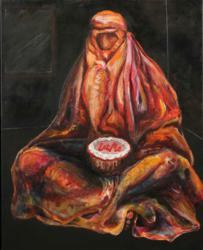 """Unseen and Unheard"", a 30x24 inch oil painting by Susan Kraft showing at the Triton Museum of Art"