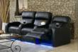 Row of 3 Palliser Blade Home Theater Seats in Black Leather