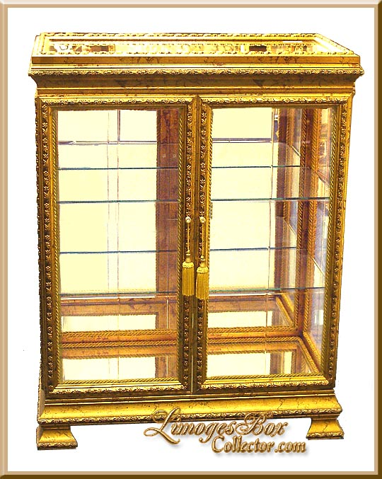 Italian Gold Leaf Beveled Glass Curio Display Cabinets At