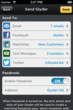 Glyder sends to social platforms, email and text message