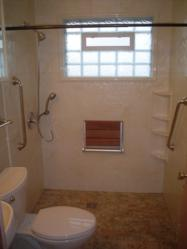Roll in shower in a 5' x 7' bathroom with a fold down seat and hand held shower