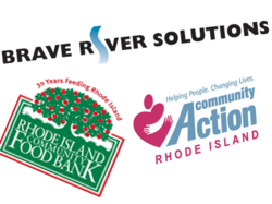 Brave River Solutions, Rhode Island Food Bank, and Westbay Community Action logos