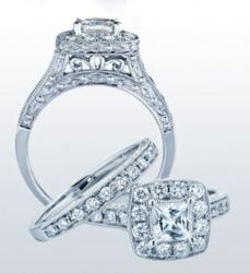 5/8 CTW Pave Princess Halo Bridal Set $998