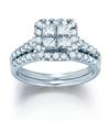 1 1/5 CTW Halo Princess Quad Engagement Ring Set $1598