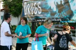 Scientologist Gail Carroll distributes Truth About Drugs materials in communities throughout the San Gabriel Valley in Southern California.