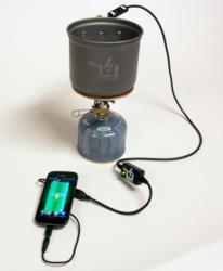 The PowerPot, thermoelectric generator, charging an Android smartphone on a small camping stove.