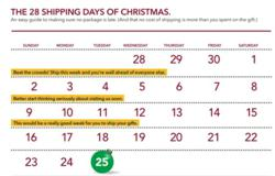 2012 Holiday Shipping Calendar and Last Day to Ship