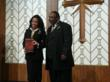 Bishop Franklin Harris presenting the 400th Anniversary edition of the King James Study Bible.