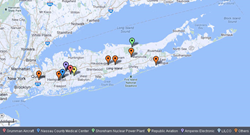 Map of common asbestos exposure sites in Nassau & Suffolk Counties, NY