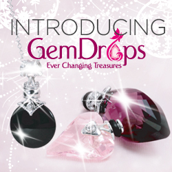 Photo of GemDrops jewlery with logo saying Introducing GemDrops.