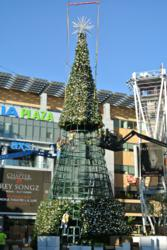 giant 72 ft tree in downtown los angeles la live commercial christmas decorations by