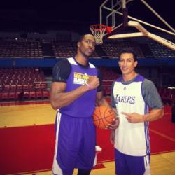 Celebrity fitness trainer Diego Sebastian and Los Angeles Lakers star Dwight Howard.