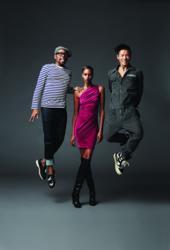 (L-R) Kirk Pickersgill (Designer, Greta Constantine), Yasmin Warsame (Supermodel), Stephen Wong (Designer, Greta Constantine)