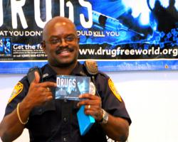 Corporal Walter Pressley of the Ocala Police Department using the Truth About Drugs materials in a drug education presentation