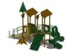 Custom themed playground with natural colors, a variety of tree house-inspired features, and a range of traditional play components