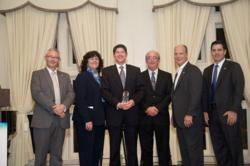 "Rentokil colleagues accepting Johnson Controls' ""Supplier Excellence in Execution"" award."