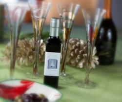 Custom label on olive oil bottle