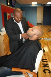 BarberPlace.com Founder Khedron Mims at his Durham, NC Barbershop
