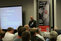 Keith Bunn, Stertil-Koni service manger, speaking at the ALI Lift Inspector Certification Program at the 2012 SEMA Show.
