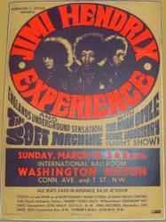 Jimi Hendrix 1968 Hilton Hotel Washington DC Concert Poster